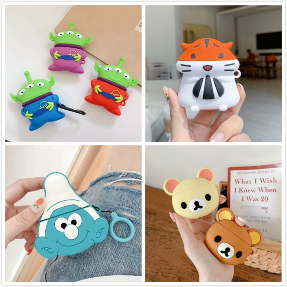 Cute Bluetooth Wireless Earphone Case For AirPods 2 Case Silicone Bear Cartoon Cover For Apple Air Pods Case Accessories Strap