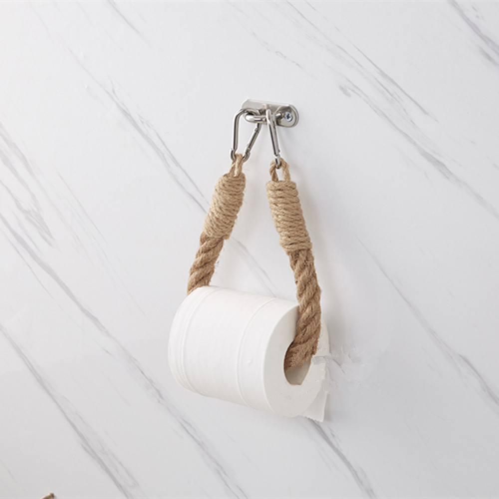 Vintage Hemp Rope Towel Toilet Paper Reel Roll Holder Ins Wall Mount Towel Holder Bathroom Toilet Home Hotels Decoration QLY1043