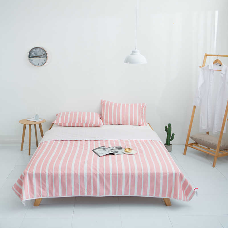 White and Pink stripes1PCS cotton bedspread coverlet/bed cover,also good use as summer blanket 200*230/150*200/180*200cm