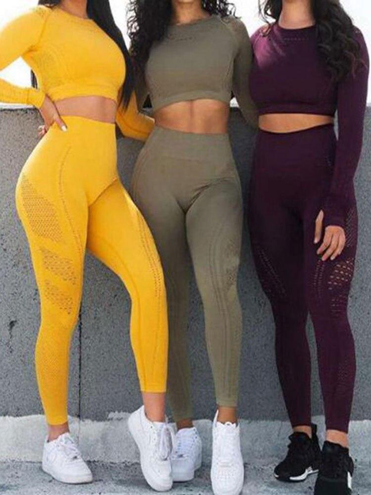 Workout Suit Leggings Shirt Gym-Sets Mesh Fitness Long-Sleeve Sportwear Women Yoga High-Waist