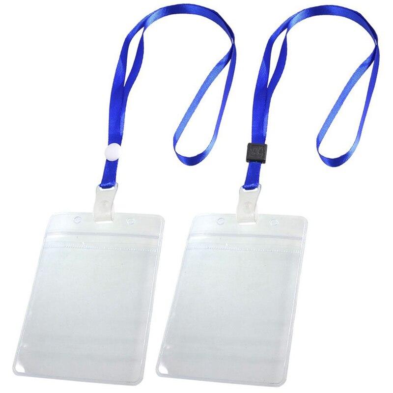 HOT-2 Pcs ID Card Badge Holder Adjustable Neck Strap Lanyard Blue Clear