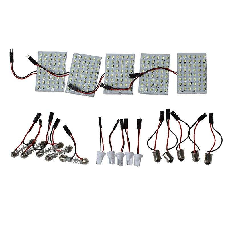 5pcs Car Interior Light Panel 48 SMD LED T10 BA9S e Festoon Bulb Adapter 12V White panel