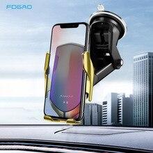 Suporte de telefone sem fio qi, carregador para carro de aperto automático, 10w, suporte de carregamento rápido para iphone 11 x xs xr 8 samsung s10 s9 note 10
