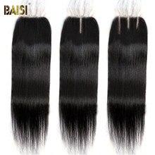 BAISI capelli brasiliani chiusura in pizzo dritto 4x4 HD capelli umani chiusura in pizzo svizzero marrone chiaro parte centrale libera solo chiusure superiori