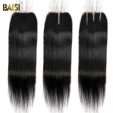 BAISI Brazilian Hair Straight Lace Closure 4x4 Human Hair Swiss Lace Closure Light Brown Middle Free Part Top Closures Only
