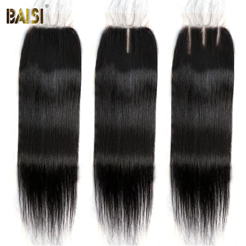 BAISI-pelo humano brasileño liso y transparente, cierre de encaje, 4x4