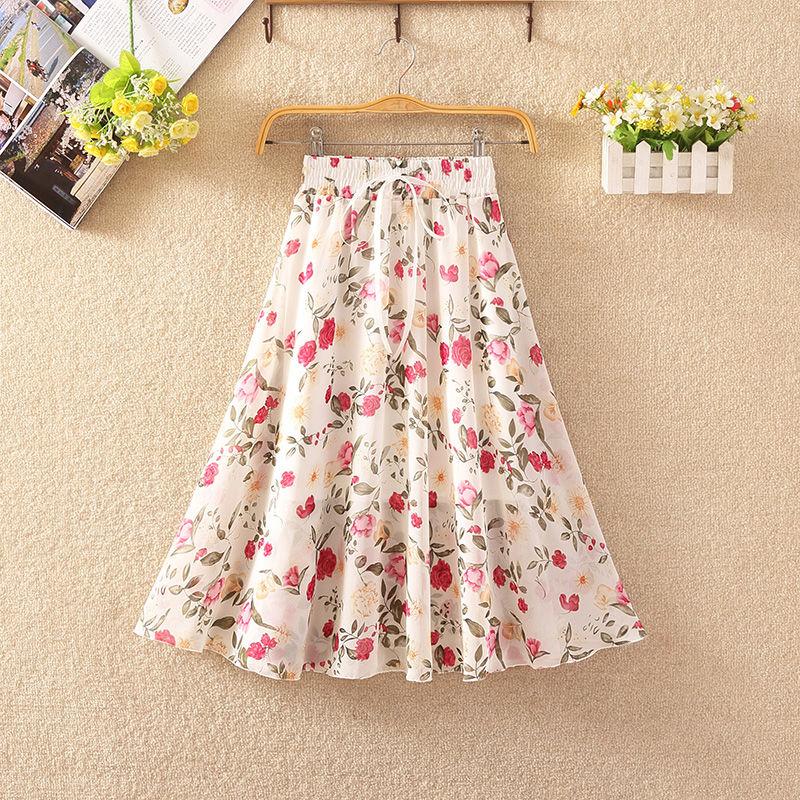 Women's Floral Skirt High Waist Long Summer 2020 Printed Chiffon Skirt Summer Woman Skirts Mujer Faldas Saias Mulher