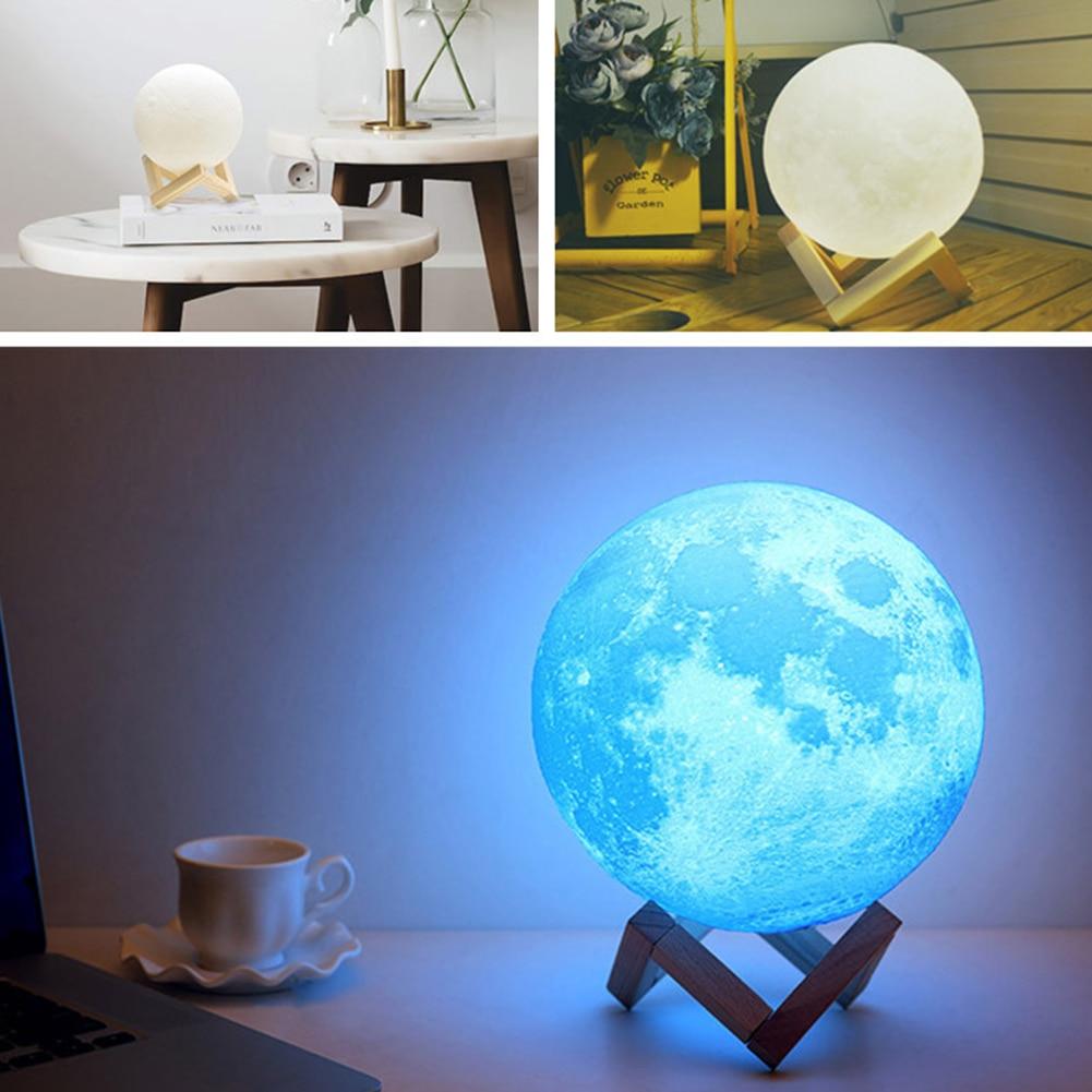 Hand Carved Night Light Salt Lamp 8cm 10cm 15cm 18cm 20cm 3D Printing Moon Light USB Charging 2/3/16 Color
