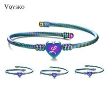 Women Girls Letter Bracelet Bangles Initial Cuff Bracelets Colorful Alfabet Bangles Bracelets For Women Pulseiras Jewelry