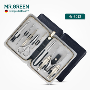 Image 5 - MR.GREEN wysokiej jakości zestaw do pielęgnacji stali nierdzewnej 9 w 1 zestaw obcinaków do paznokci pakiet skóry wołowej Manicure pielęgnacja paznokci dobry prezent