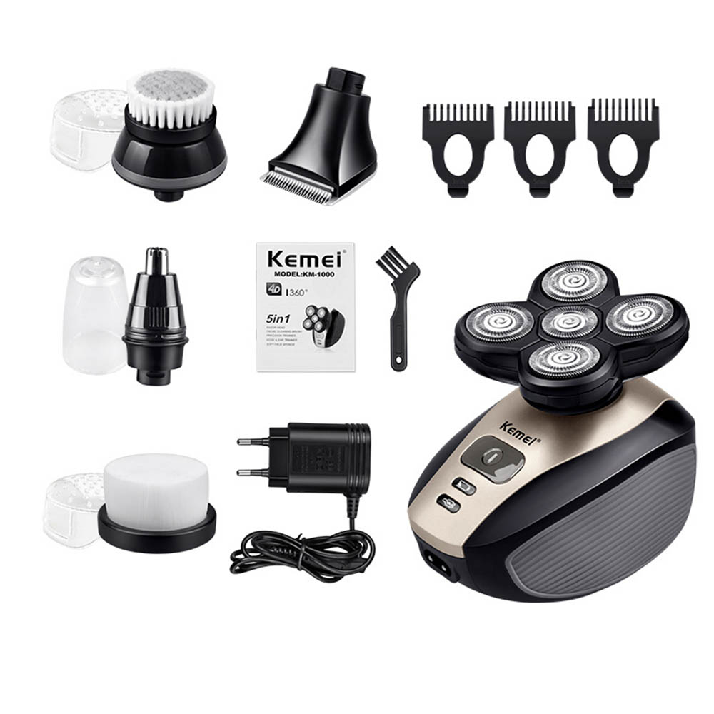 Washable Kemei 5 In 1 Electric Shaver Men Nose Hair Trimmer 4D Floating Blade Head Shaving Beard Trimmer Razor Nose Hair Cutter