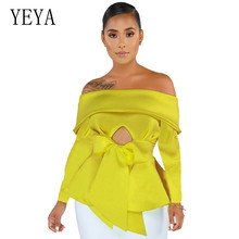 YEYA Sexy Off Shoulder Ruffled Hem Long Sleeve Top Elegant Strapless Hollow Out Femme Fashion Top Vintage Slim Womens Clothing flower embroidered long sleeve ruffled top