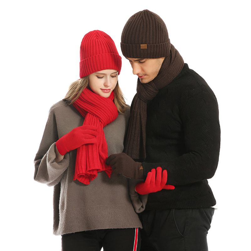 2019 Unisex 3 In 1 Winter Warm Ribbed Knit Beanie Hat Long Scarf Touch Screen Gloves