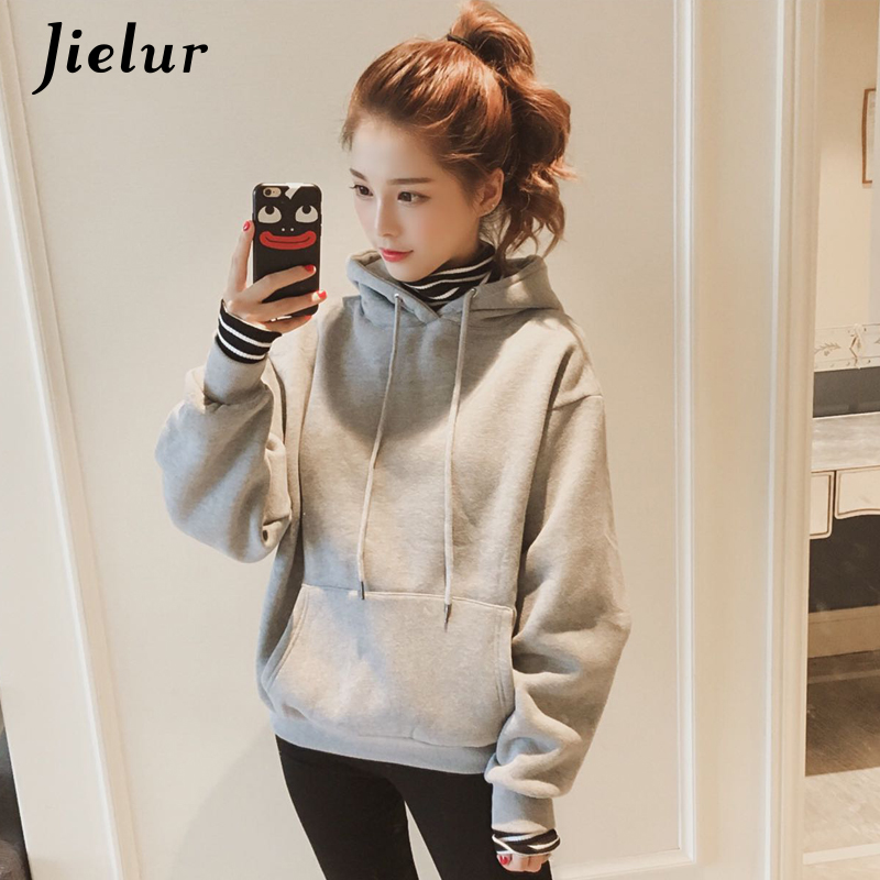 Jielur Fake Two Pieces Female Hoodie Patchwork Striped Harajuku Women's Sweatshirt Hooded Fleece Kpop White Gray Black Hoodies