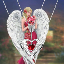 Angel Wings Heart Pendant Necklace Double Layered Arrow Heart Crystal for Women Mom Fashion Jewelry Gifts green pendant double layered necklace