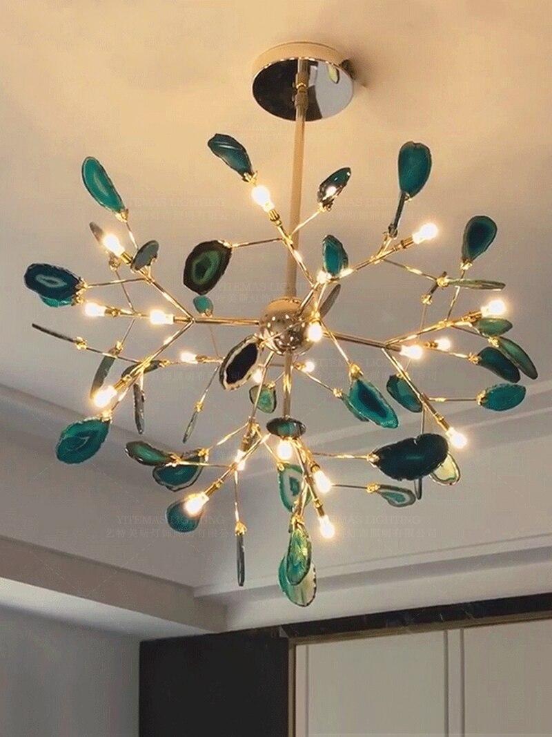 lampada pendurada ouro azul lustre em sala 02