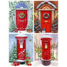 DiyDiamond Paintnig Cross Stitch Christmas Full Square Drill Home Decoration Embroidery Door Mosaic Picture Gift Decor