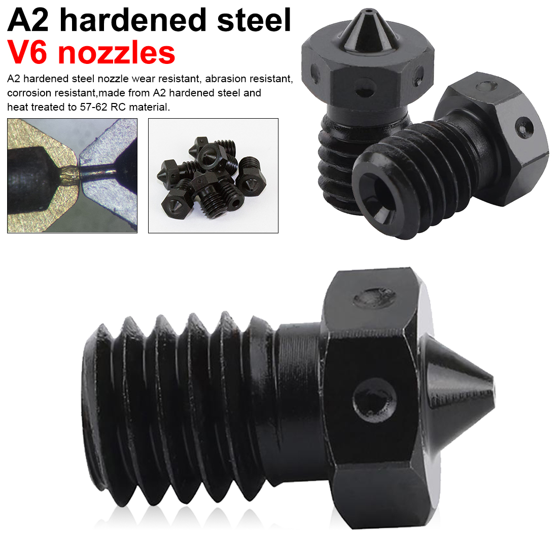 3D Printer Parts A2 Hardened Steel V6 Nozzles for Printing PEI PEEK or Carbon Fiber Filament 10