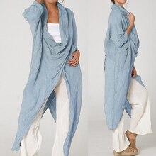 Женские топы и блузки размера плюс, винтажные длинные рубашки, повседневные свободные асимметричные блузки с воротником-хомутом и длинным рукавом