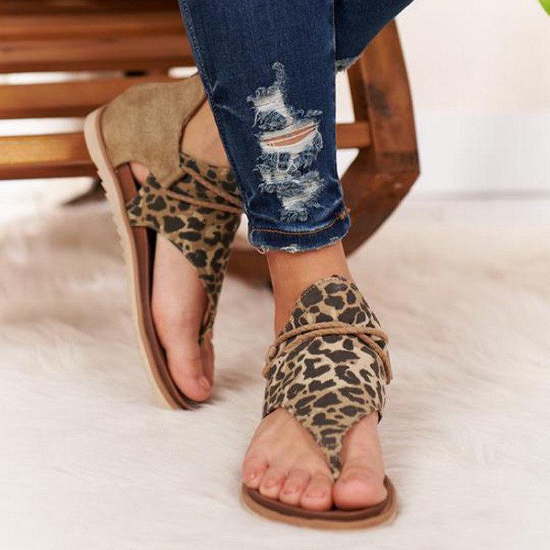 Women Leopard Sandals Flats Shoes Ladies PU Leather Zapatos De Mujer Casual Fashion Leopard Print Shoes Bohemian Sandals 2020