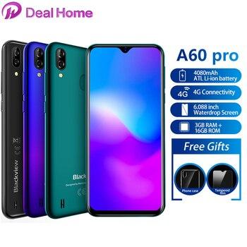 Купить Blackview A60 Pro 6,088 дюймводонепроницаемый экран мобильный телефон Android 9,0 4080mAh MTK6761 двойной камеры 4G сотовый телефон