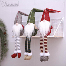 Christmas Decoration Santa Claus Dolls Red Gray Green New Year Hanging Home Christmas Favor Party De