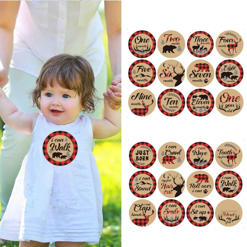 12 Pcs Month Sticker Baby Photography Milestone Memorial Monthly Newborn Kids Commemorative Card Retro Stickers Photo Props