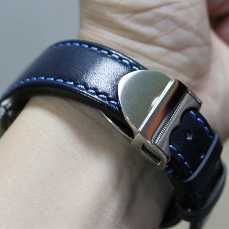 Handmade Crazy Horse Leather Watchband Vintage Brown Blue strap 20mm 21mm 22mm Genuine Calf Leather Watch Band Strap For Tudor