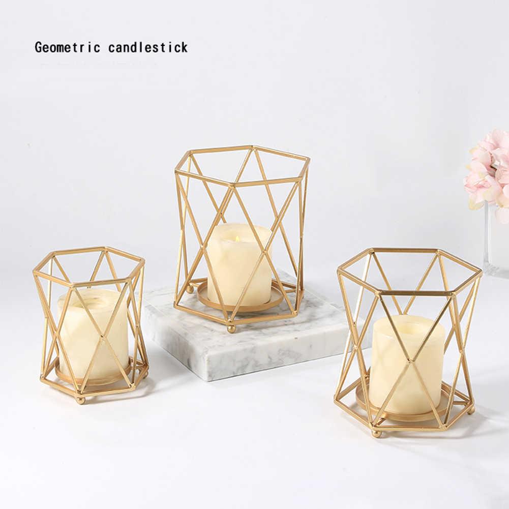 PENG Estilo n/órdico 3D Candelabro geom/étrico Candelabro de Metal Boda Decoraci/ón para el hogar Caliente