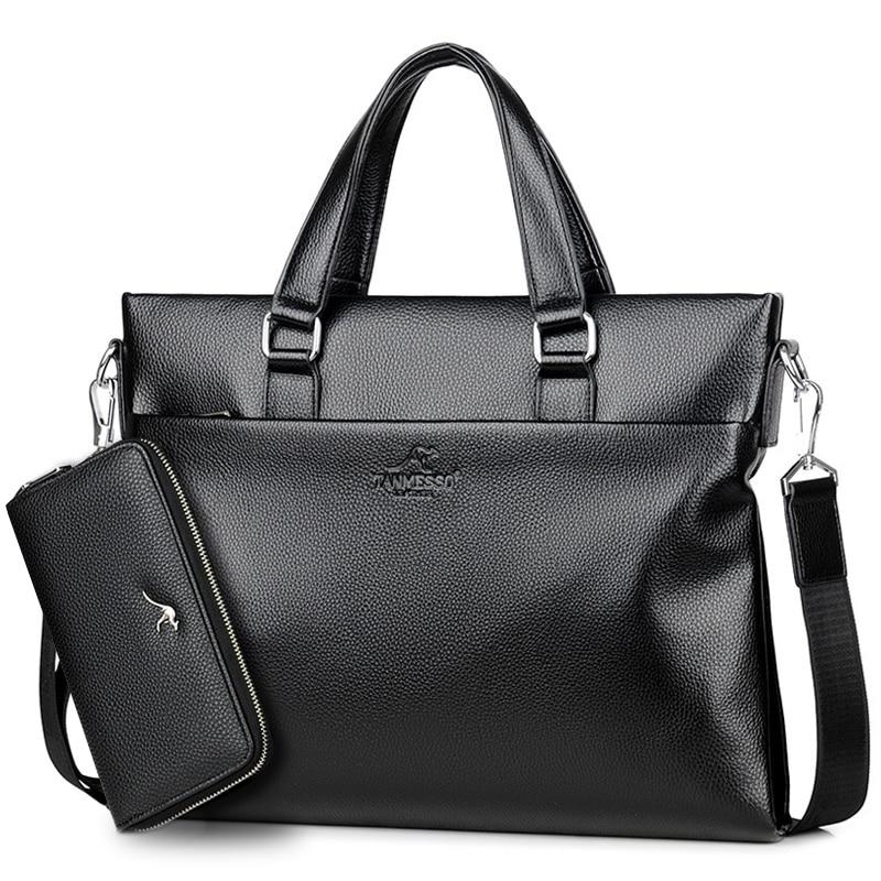 High Quality Men Briefcase Bag Split Leather Business Handbag 14 Inch Laptop Bags Famous Brand Large Shoulder Messenger Bags