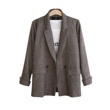 Women New Double Breasted Plaid Blazer Coat Retro Long Sleeve Office Lady Loose Jacket Notched Casual Plus Size Outerwear 2019 autumn winter suit blazer women formal loose jacket coat office lady plus size long sleeve blazer outerwear xxl 3xl 4xl 5xl