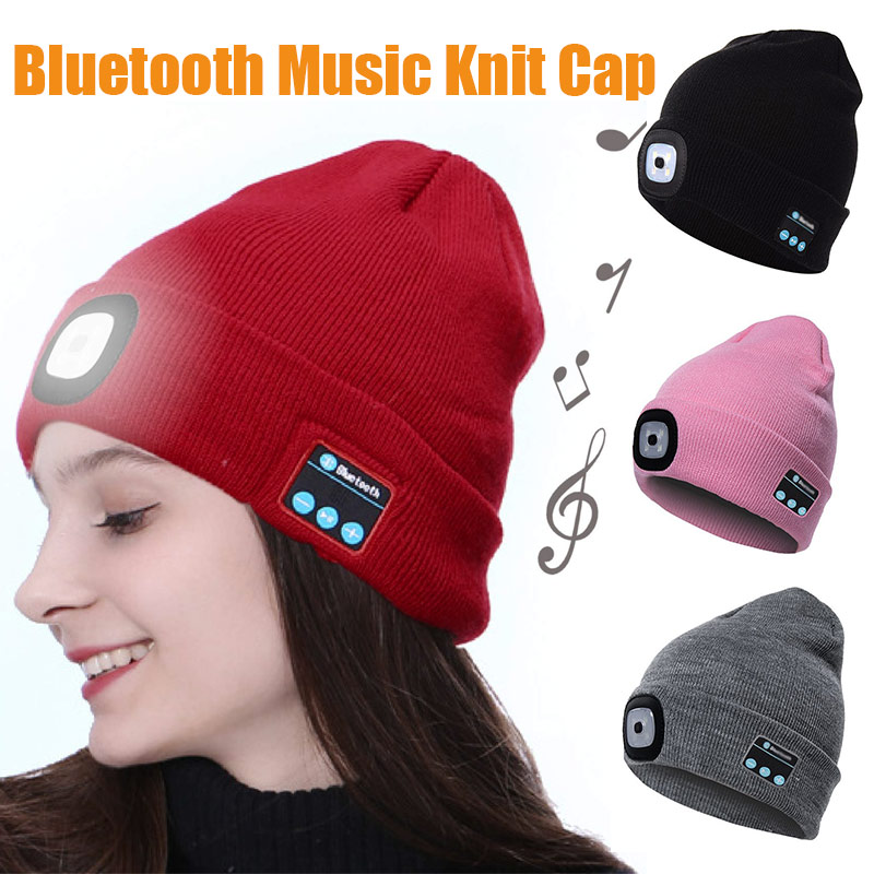 Bluetooth LED Knitted Beanie Hat Built-in Stereo Speakers Knit Cap for Camping Running Fishing HB88