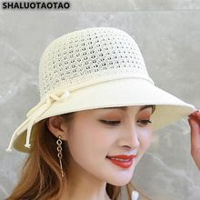 SHALUOTAOTAO Women's Hat Trend Summer Fashion Bow Bucket Hats Panama Brands Beach Hats Wind Rope Fixed Sombreros Sunhat Spring(China)