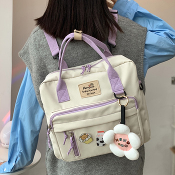 DCIMOR Lovely Multifunctional Backpack Teenage Girl Ring buckle Portable Travel Bag Female Small Schoolbag Badge Women Backpacks