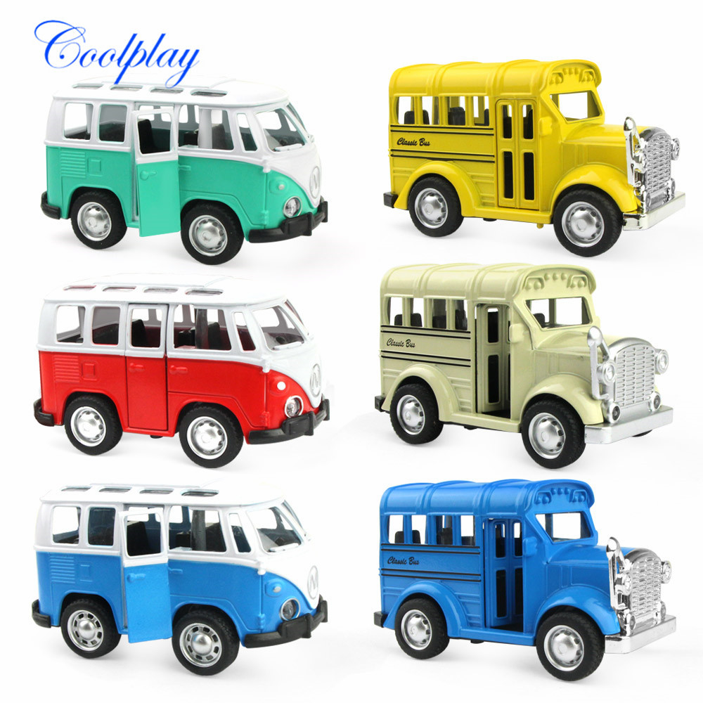 6 Types Alloy Mini Car Model With Light Sound High Simulation Diecast Pull Back Vehicle School Bus Toys Opened Door For Children