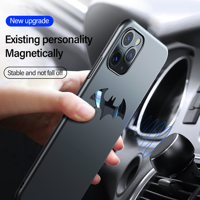 Ultra-thin Metal Batman Matte PC Phone Case For iPhone 11 Pro Max XSmax XR XS X 8 7 6s 6 Plus Magnetic Protection Cover Coque