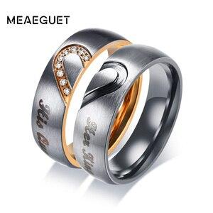 Meaeguet его королева и ее король сердце Свадебные кольца для мужчин и женщин из нержавеющей стали кубического циркония пара обручальные ювели...