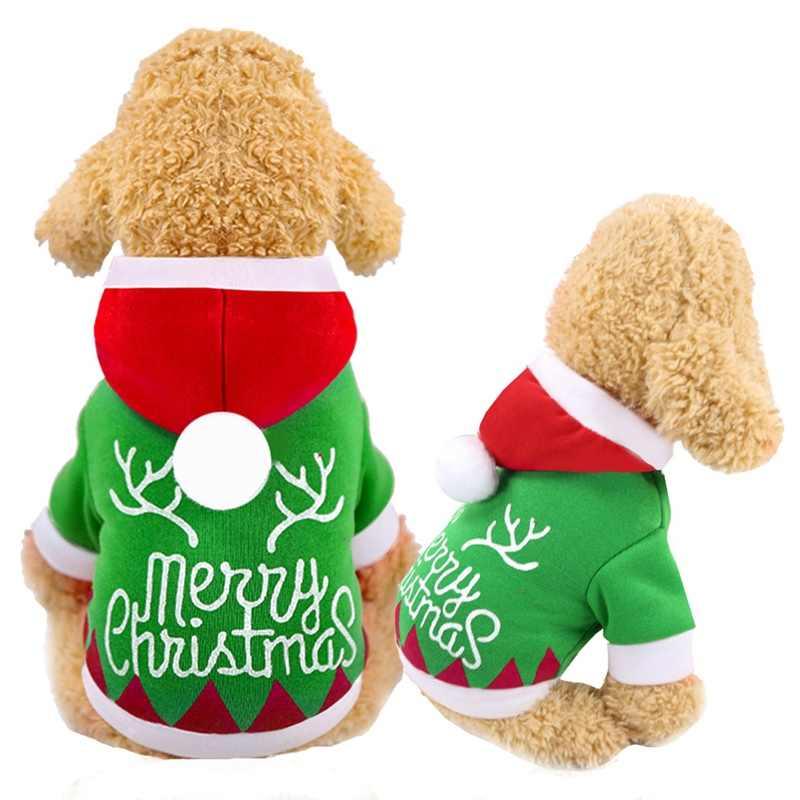 الكلب الملابس الحيوانات الأليفة عيد الميلاد رسائل مطبوعة مقنع الدافئة المرجانية قلنسوة من القطن المرجانية القطن للكلاب الأخضر قمم للشتاء XS-2XL برو