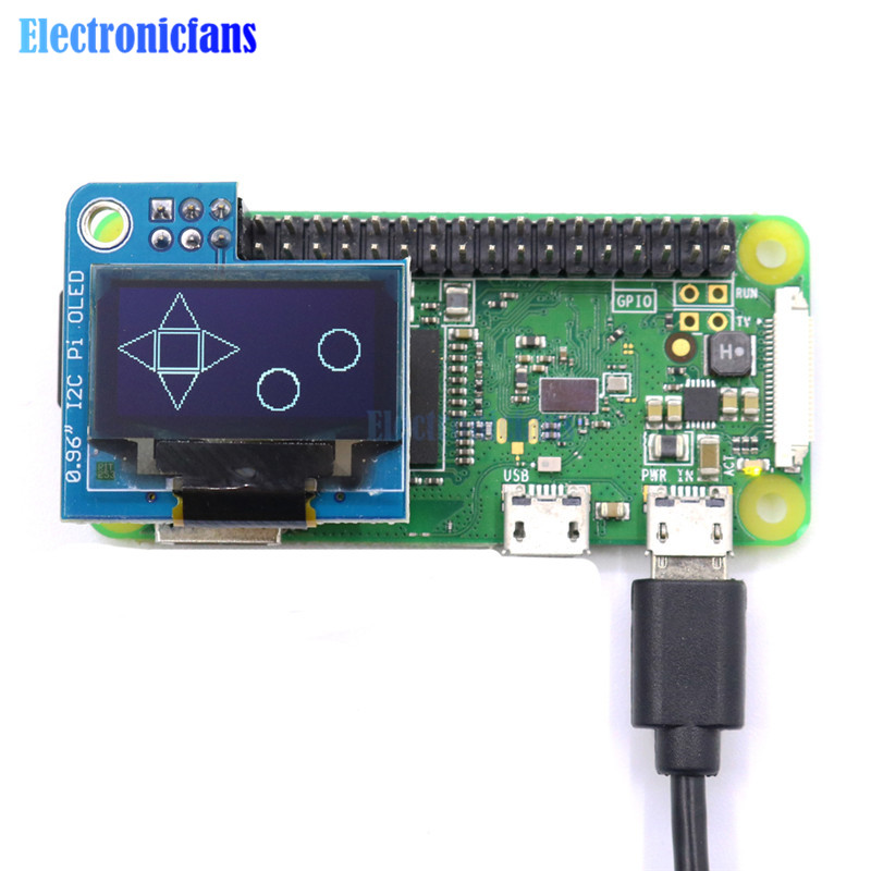 PiOLED 128x64 0.96inch White OLED Display Module IIC I2C Interface 3.3V For Raspberry Pi 4