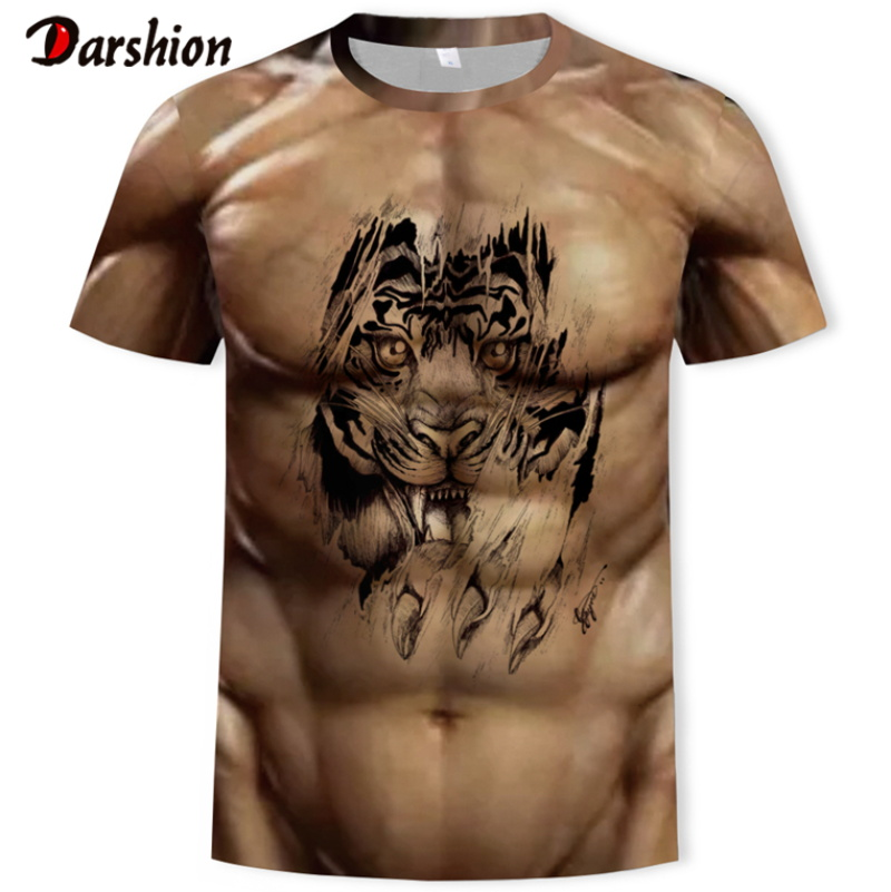 Fashion 3D T-Shirt Bodybuilding Simulated Muscle Tattoo T-Shirt Casual Nude Skin Chest Muscle Tee Shirt Funny Short-Sleeve Cloth