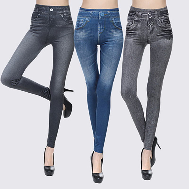 Jeans Leggings Stretchy Seamless Plus Velvet Corset Imitation Denim Print Cropped Jeans Womenis Pants