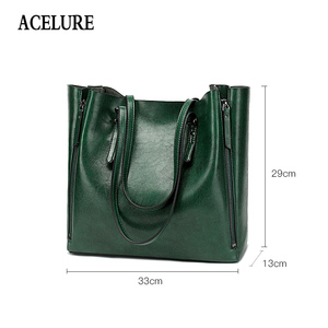 Image 2 - ACELURE Famous Brand Handbag Women PU Leather Shoulder Bag Casual Large Capacity Top Handle Bucket Bag Simple Style Solid Totes