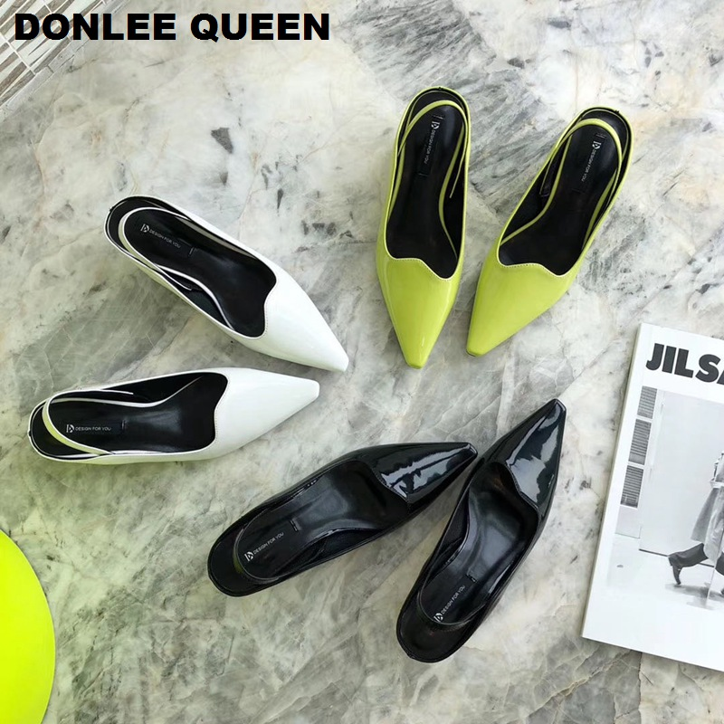 Fashion Slingback Spring Sandals Women Female Pumps Footwear Pointed Toe Elegant Low Heels Mules Shoes Women Party Wedding Shoes