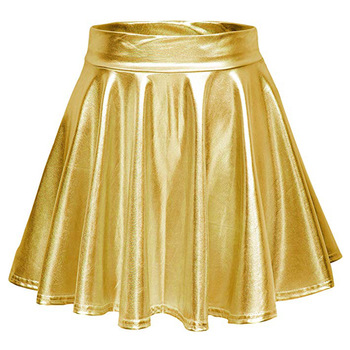 Club Stage Shiny Pleated Tutu Skater Skirt Women  Cocktail Short Mini A Line Skirts Gold Silver Purple Red Pink Black Green