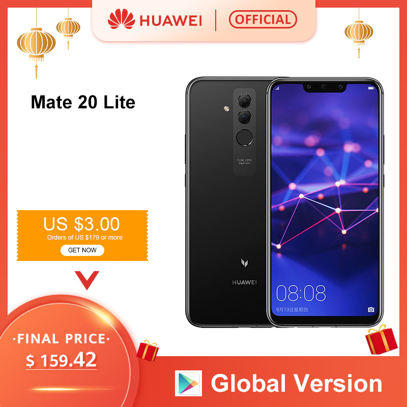 Global Version Huawei Mate 20 Lite 6.3 Inch Mobile Phone EU Charger 4G 64G NFC 24MP Front Camera F/2.0 Aperture Kirin 710