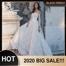 ヴィンテージアップリケウェディングドレス2020 swanskirt長袖クリスタルaラインイリュージョン花嫁王女のローブデのみ