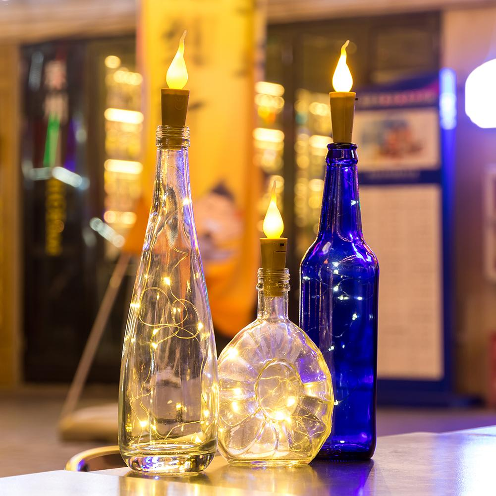 10PCS/lot 2M 20 LED Candle String Light Wine Bottle Mini Flame Cork Lamp Holiday Decoration Light for Home Bar Valentine's Day