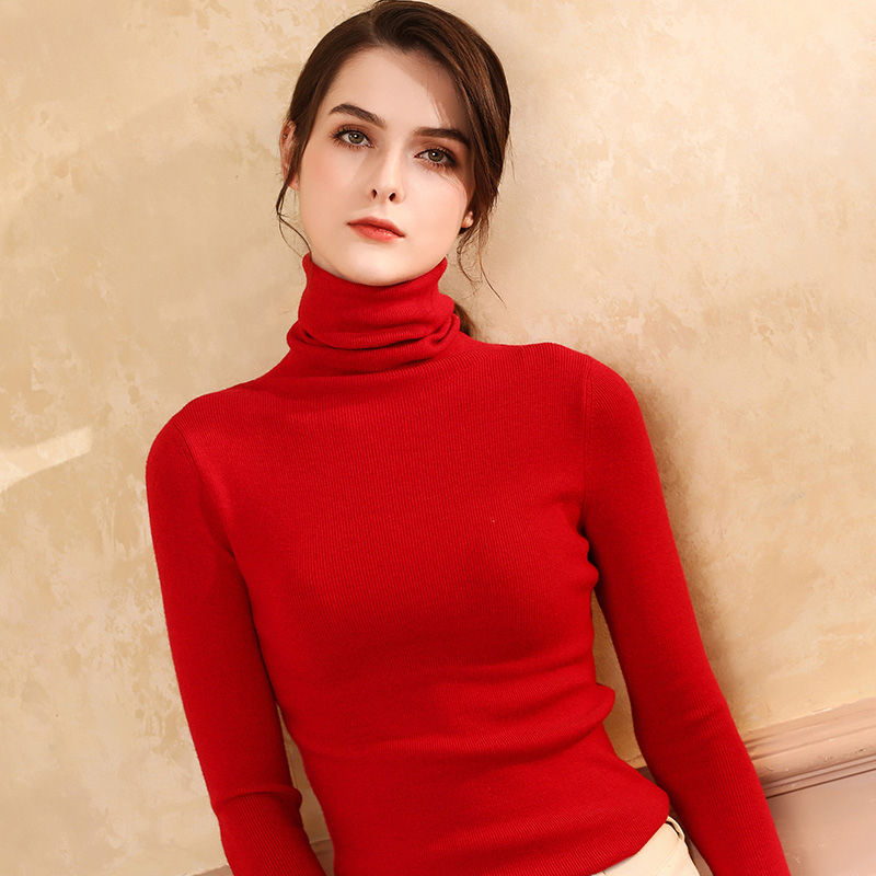 Autumn and Winter New Cashmere Sweater Women High Collar Pullover Fashion Sweater Warm Bottom Sweater 12