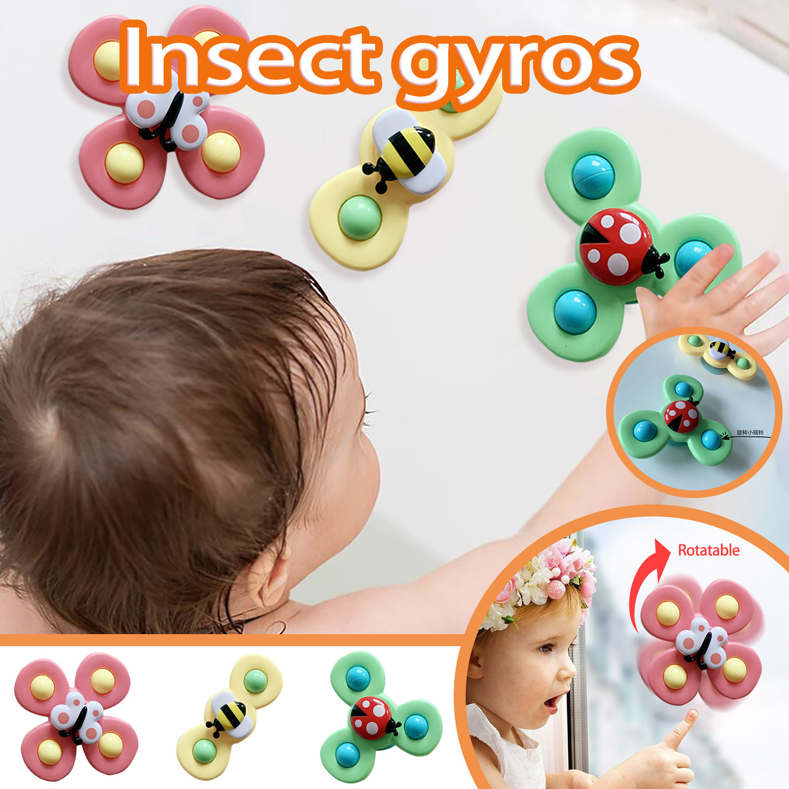 Fidget-Spinner-Toys Spinning-Games Cartoon Insect-Gyro-Toy Relief-Stress Fingertip Educational