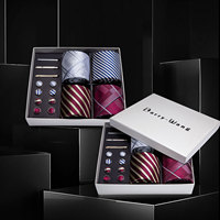 Men Ties Red Sliver Striped Silk Men Wedding Necktie Handkerchief Gift Box Set Male 4pcs Ties For Men Gift Barry.Wang BB4 06